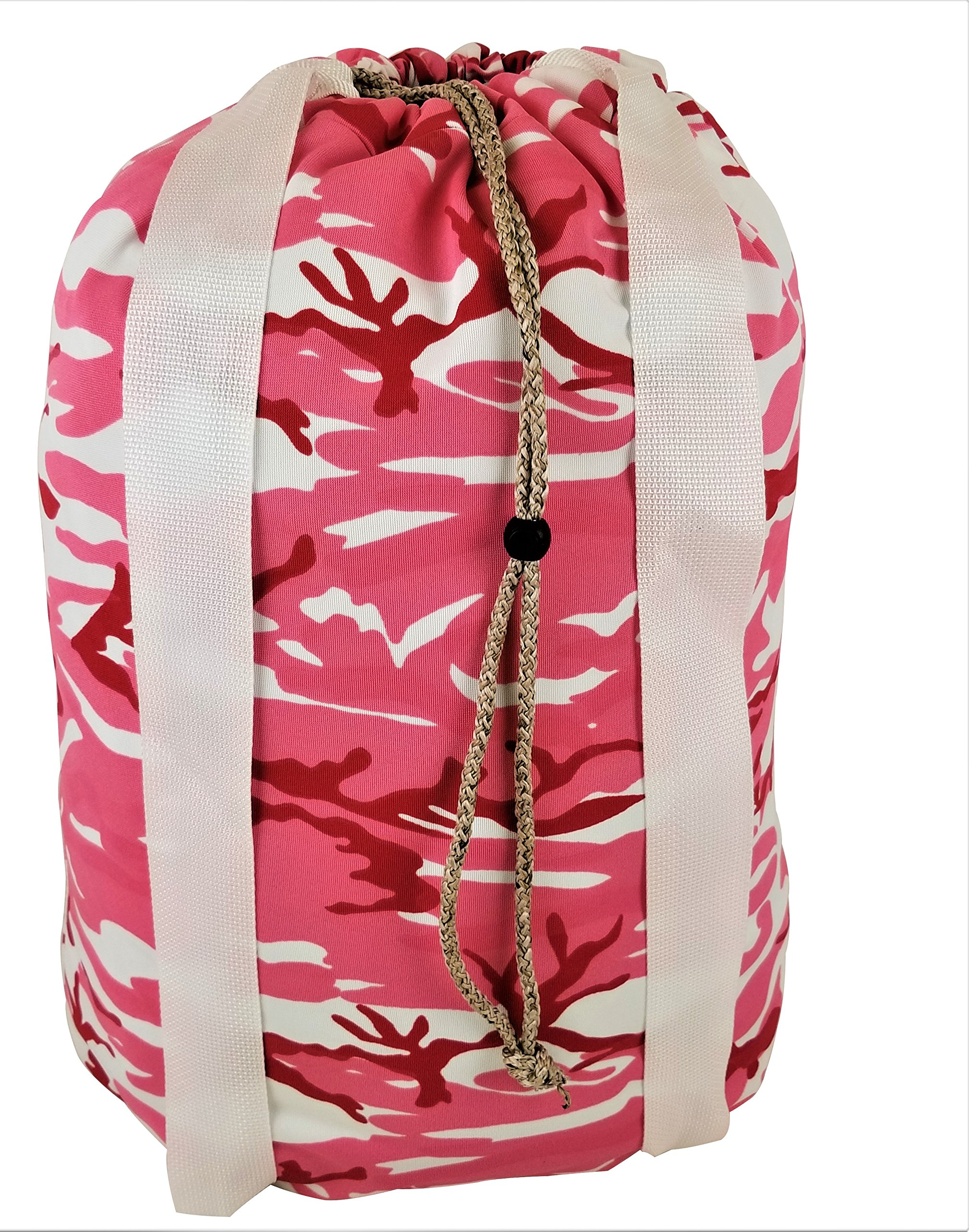 American Laundry Bags Laundry Backpack with Durable shoulder straps and cord, Heavy-Duty, Made In USA (camo-pink)