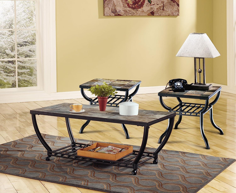 Ashley slate coffee table - Amazon Com Ashley Furniture Signature Design Antigo Coffee Table Slate Top With Metal Bottom Cocktail Height Contemporary Black Kitchen Dining