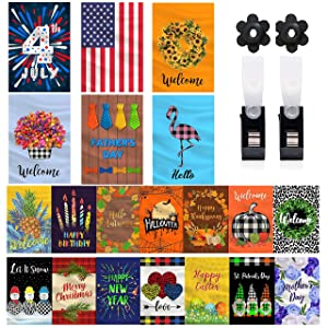 Mogarden 20-Pack Seasonal Garden Flags Set, Double Sided 12 x 18 Inch, Small Outdoor Decorative Holiday Yard Flags for All Seasons for Outside