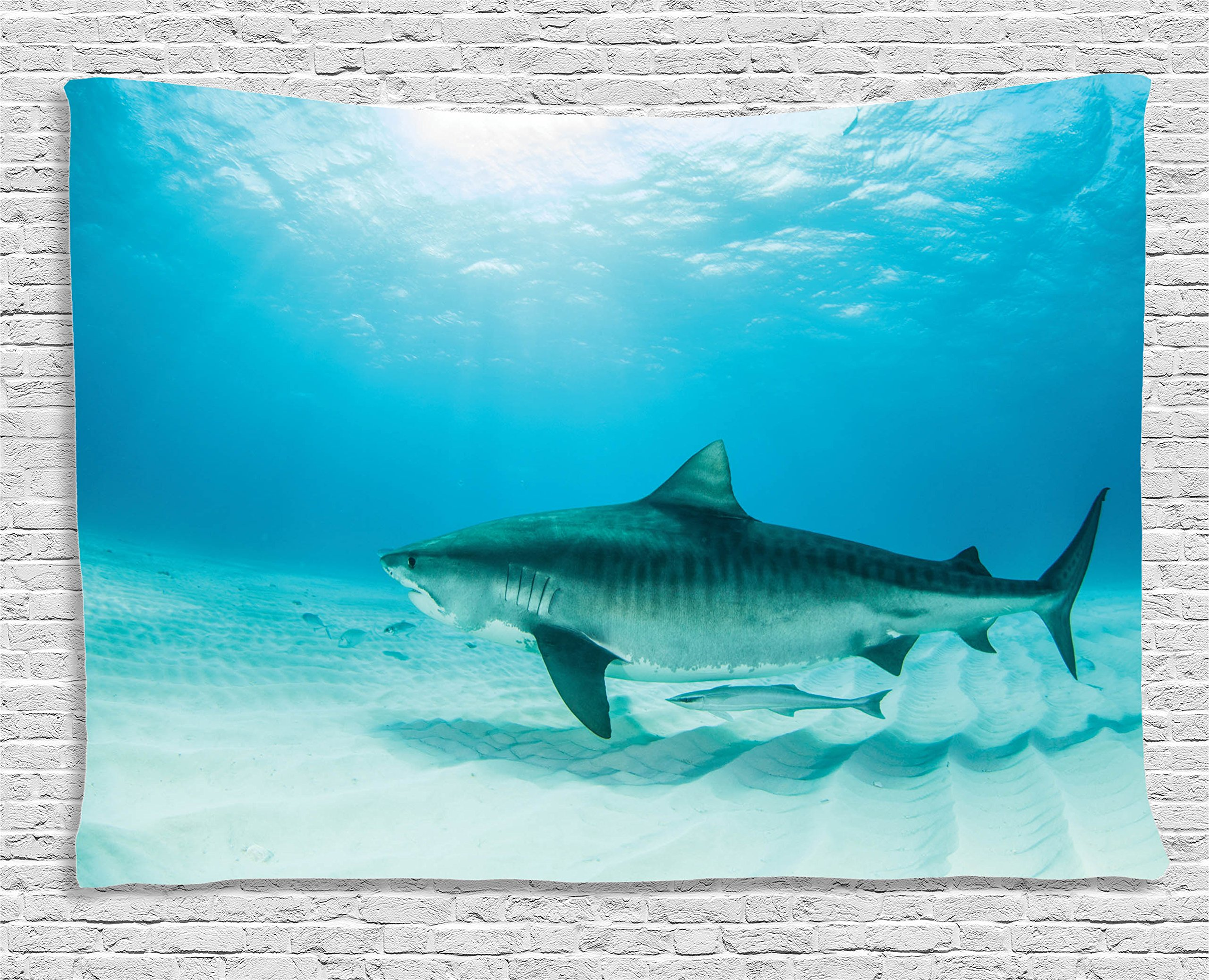 Ambesonne Sea Animal Decor Tapestry by, Tiger Shark on the Bottom of Water Danger Icon Wild Life Jaws Symbol Image, Wall Hanging for Bedroom Living Room Dorm, 80WX60L Inches, Turquoise