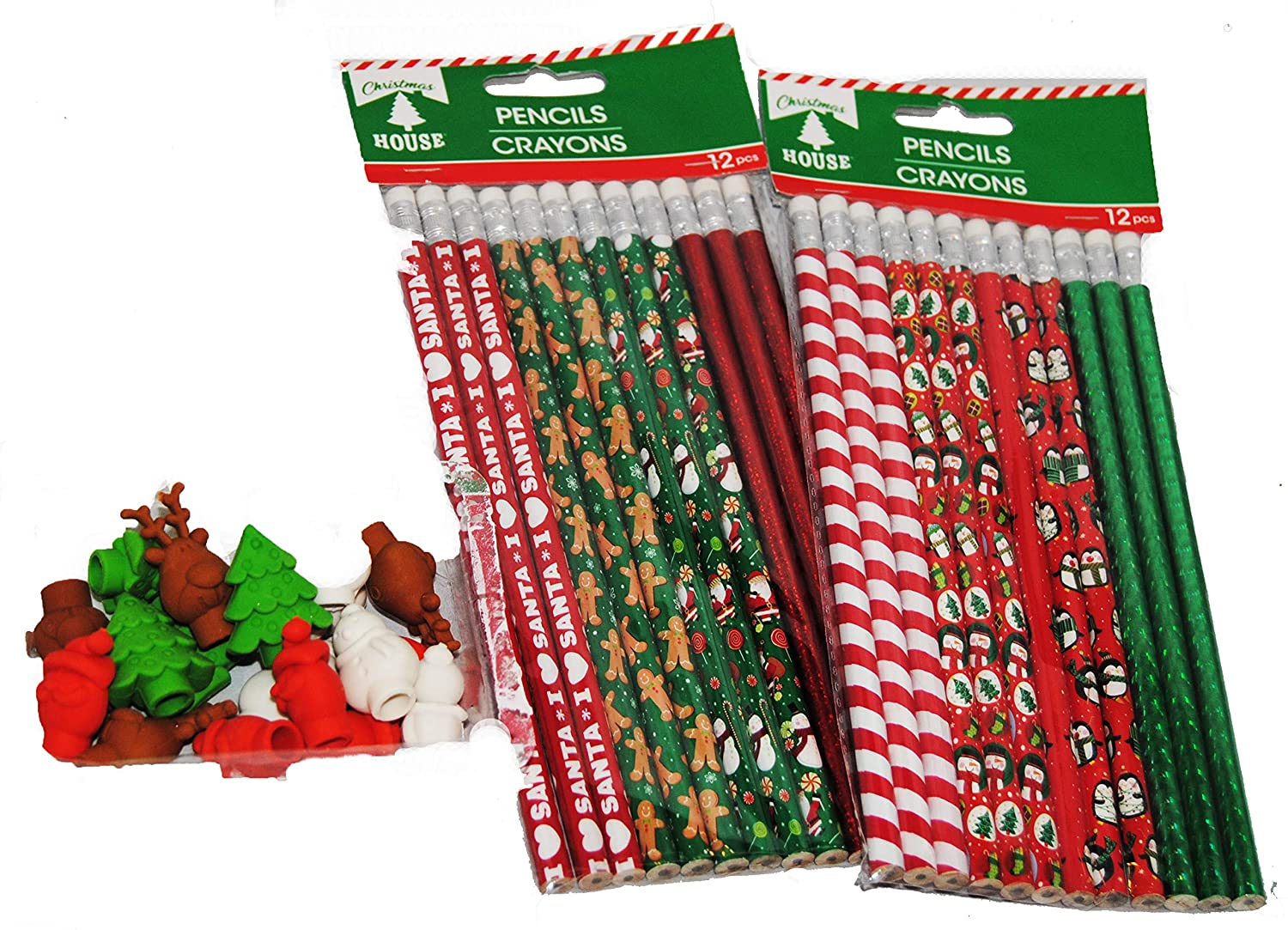 PARTY BAG FILLERS CHILDRENS PENCILS WITH ERASER TOPS CHRISTMAS THEME