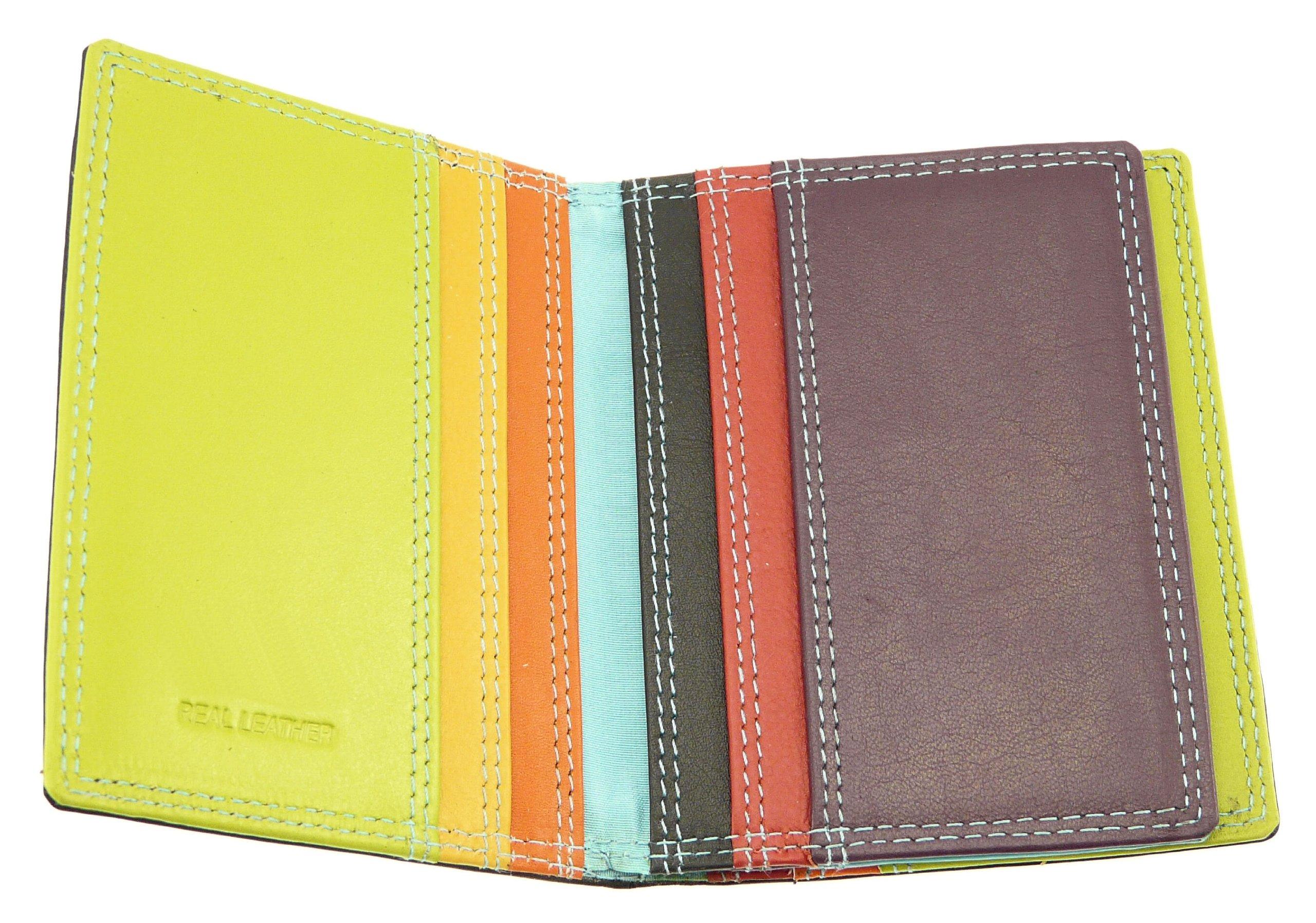 Black & Multi-color Leather Credit Card Holder / Wallet - Holds 10 Credit Cards by Neptune Giftware (Image #4)