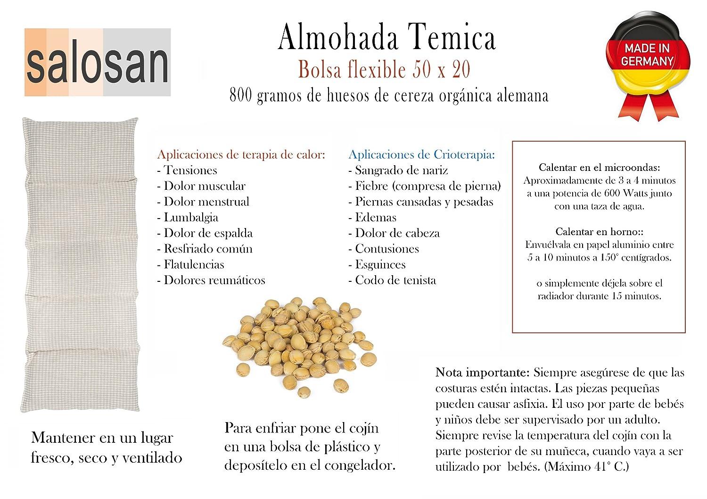 Almohada Termica 50x20 cm - Hecho en Alemania - Relleno: 800 Gramos de Huesos de Cereza. Forro: 100% Algodón - (Beige S): Amazon.es: Salud y cuidado ...