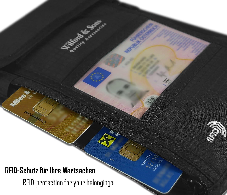 bloqueur RFID anti enfant Femme monnaie avec bandouli/ère pour les voyages Pour les cartes bancaires et le passeport Sacoche hydrofuge vol homme Pochette tour de cou Porte