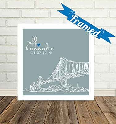 Personalized Wedding Gift Framed Art San Francisco Skyline Unique Wedding Gift for Couple Any City Available WORLDWIDE!
