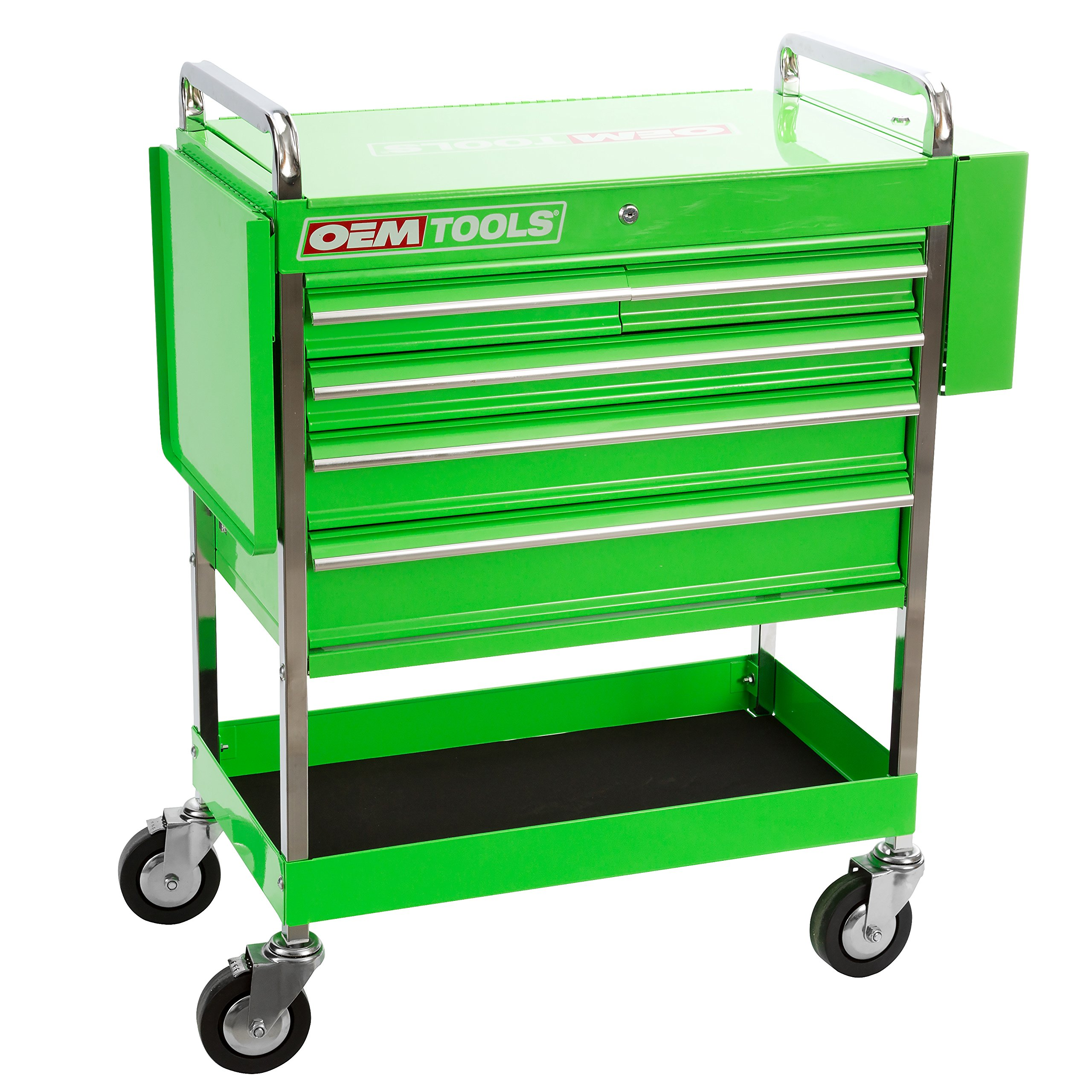 Professional Service Cart - 5 Drawer and 1 Tray (Green) by OEMTOOLS