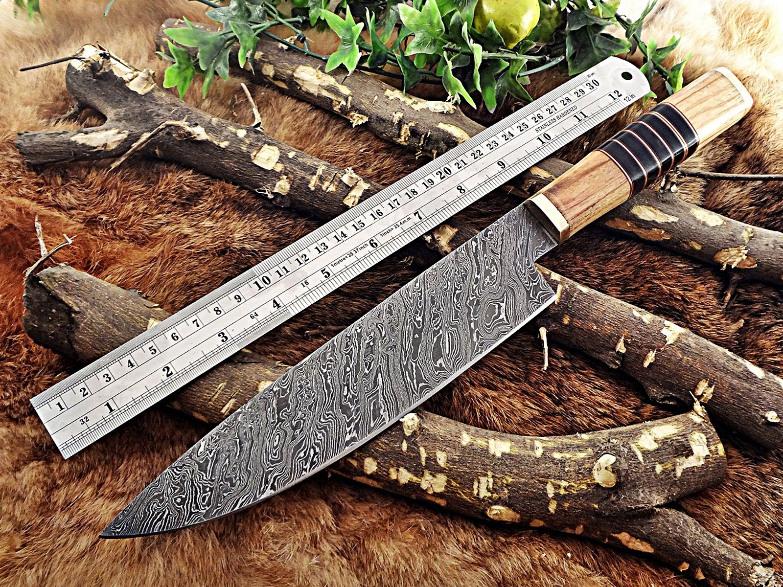 13.5 Inches long custom made Damascus steel chef Knife 8'' full tang blade Kow wood scale with brass spacer and bull horn round scale by Damascus Depot (Image #2)