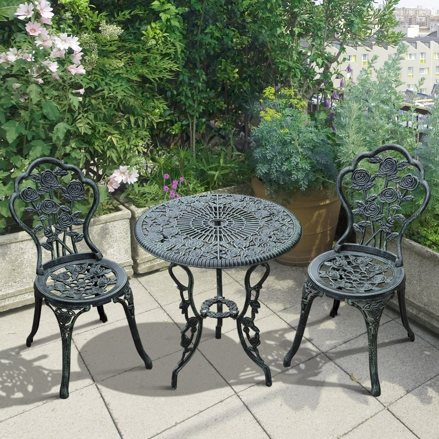 Outsunny 12pc Antique Style Patio Bistro Table Chair Set Outdoor Garden  Furniture Indoor tee Table and Chair Set, Antique Green