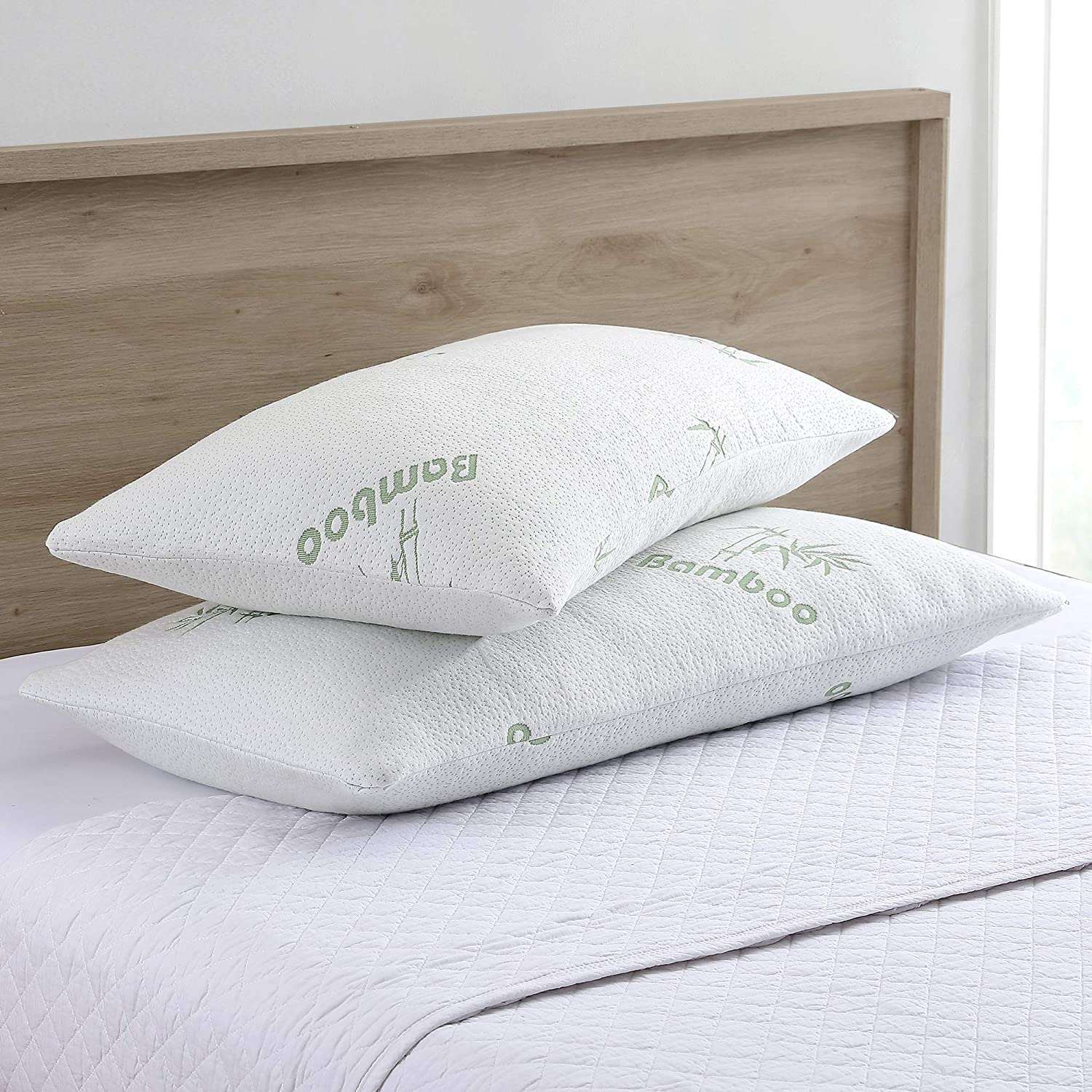 Amrapur Overseas Bamboo Memory Foam Pillow (2 Pack), King, White, 2 Piece