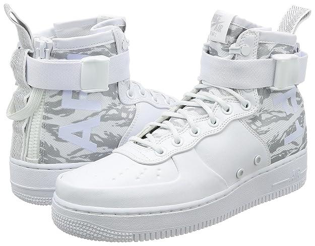Nike SF-AF1 Mid Winter Camo Zapatos de Hombre EN Piel Blanca y Tela AA1129-100 hmdNa