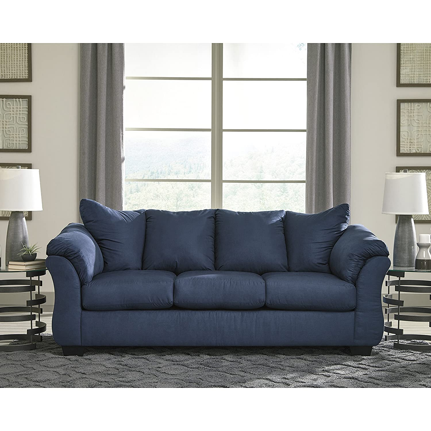 Amazon.com: Flash Furniture FSD-1109SO-BLU-GG Blue Microfiber Sofa ...