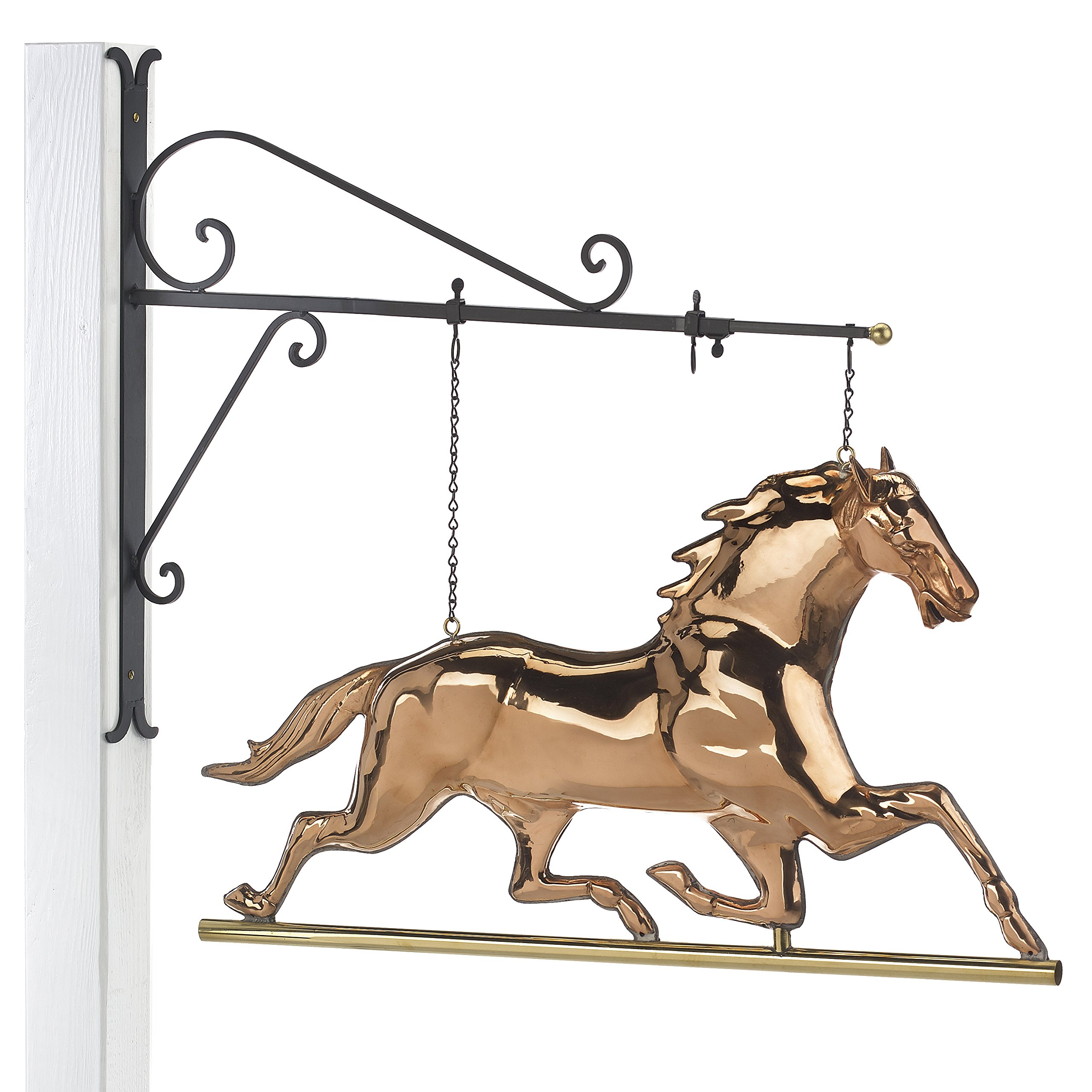 Good Directions Hanging Horse Pure Copper Weathervane Sign with Decorative Scroll Wall Bracket - Welcome Sign, Home / Entrance / Entryway Décor