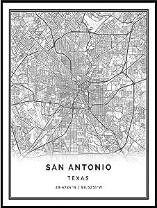 Squareious San Antonio map Poster Print | Modern Black and White Wall Art | Scandinavian Home Decor | Texas City Prints Artwork | Fine Art Posters 9x11