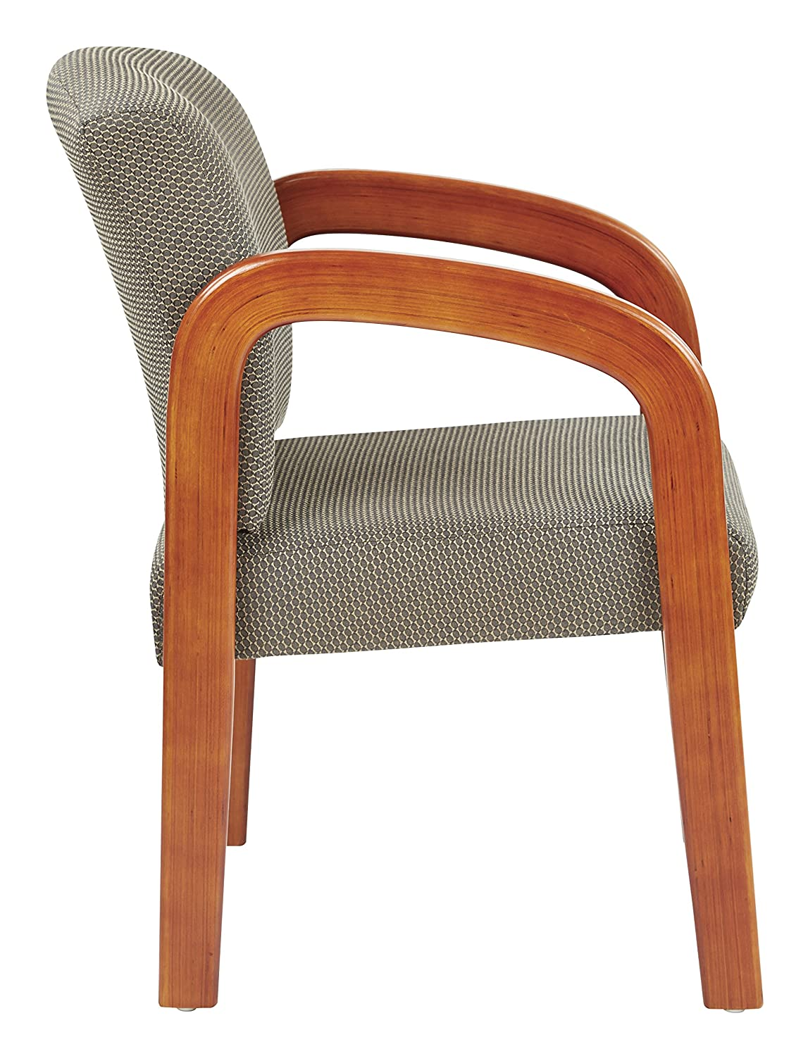 Office Star Products Office Star Products Wooden Guest and Reception Chair with Arms Medium Oak and Taupe