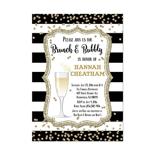 bridal shower champagne brunch invitation in black and gold base price is for a set