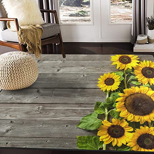ALAZA Beautiful Sunflower on Wooden Area Rug Rugs for Living Room Bedroom 5 3 x4