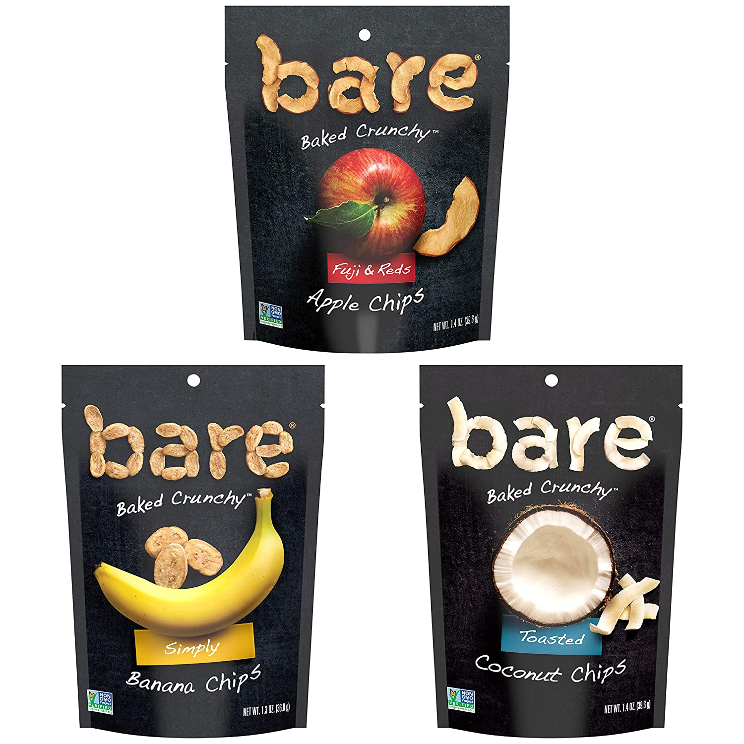 Bare Baked Crunchy Apple Chips, Banana Chips, and Coconut Chips, Variety Pack, Gluten Free, 6 Count