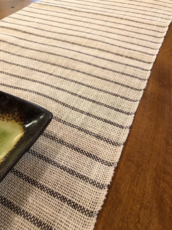 14 Width x 108 Length Burlap Table Runner Natural Cream and Gray Jute Chambury Stripes