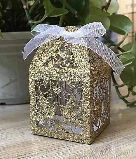 Caja de dama de honor dorada con purpurina, caja de regalo de boda, cajas de regalo con tapas, caja de regalo, caja personalizada, cajas de embalaje, decoración de boda, 100 unidades: Amazon.es: