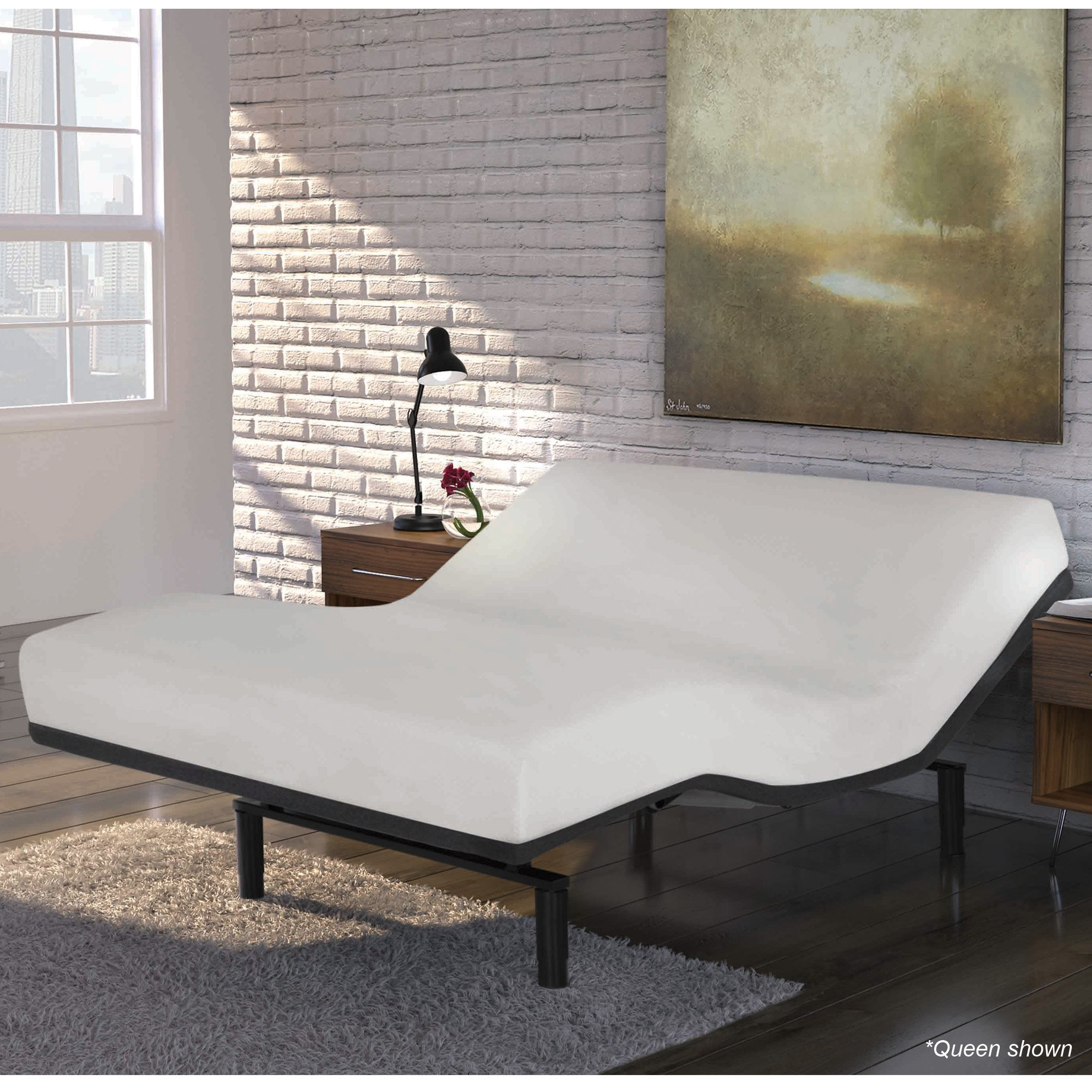 Fashion Bed Group Falcon 2.0+ Low-Profile Adjustable Base with Simultaneous Movement and Under-Bed Lighting, Queen, Charcoal Gray by Fashion Bed Group