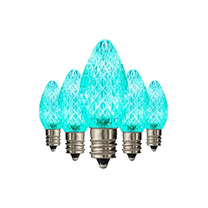 Holiday Lighting Outlet Faceted C7 Christmas Lights Teal Led Light Bulbs Holiday Decoration Warm Christmas Decor For Indoor Outdoor Use 2 Smd