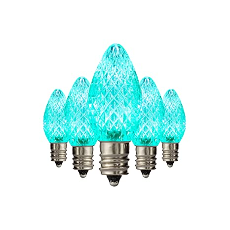 holiday lighting outlet led faceted c7 teal replacement christmas light bulbs for e12 sockets energy