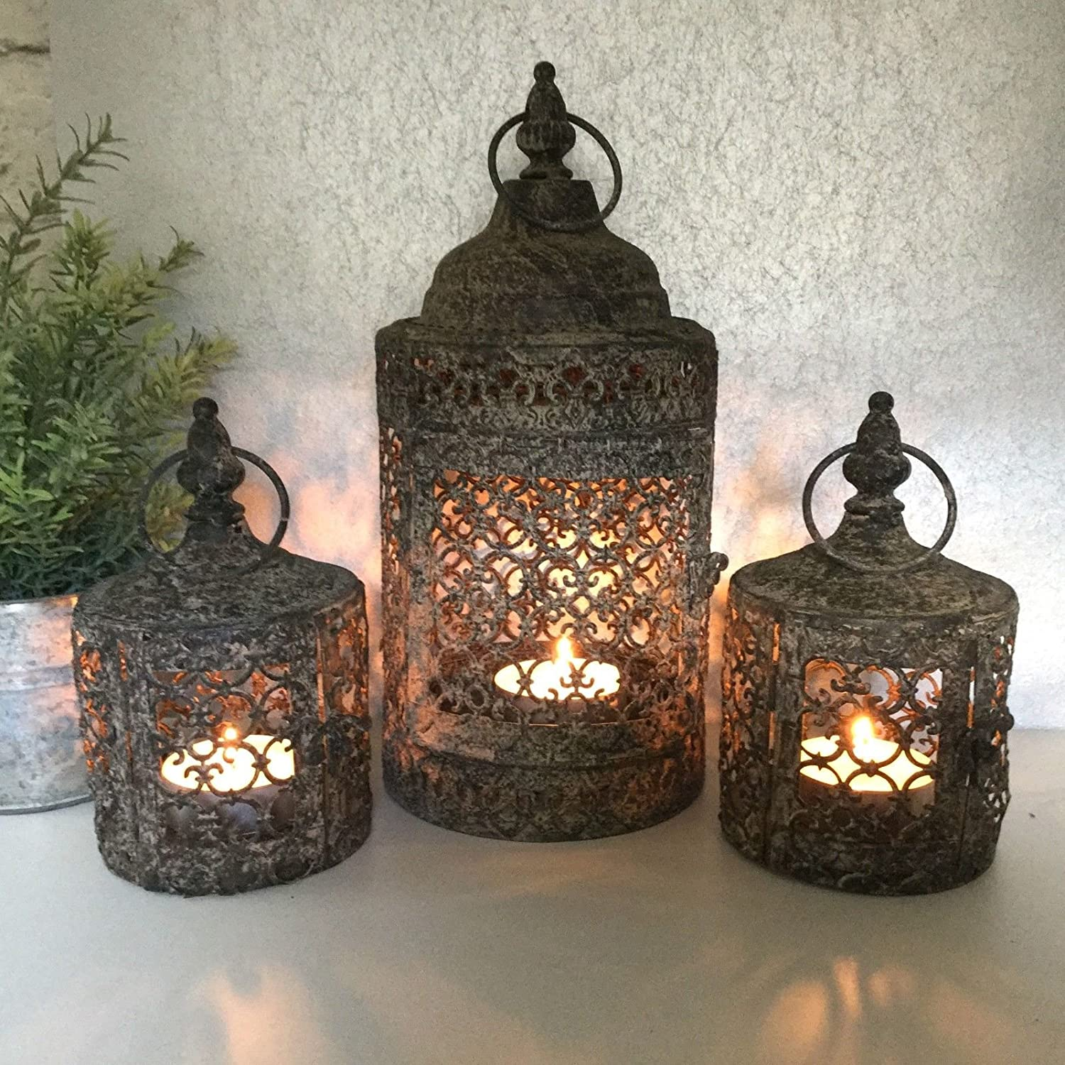 Set 3 Antique Vintage Style Moroccan Lantern Candle Holder Tea Light Garden Home AGI
