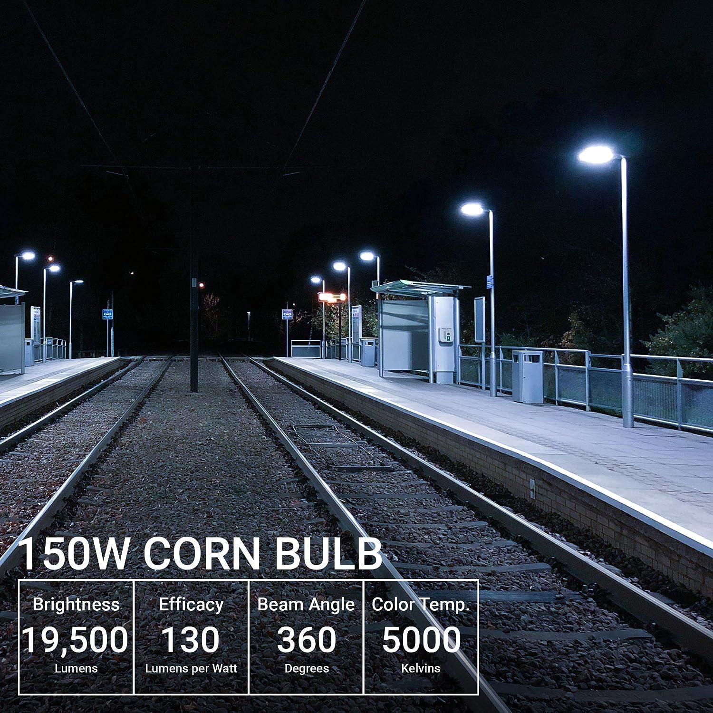Hip HID Replacement 54W Hyperikon LED Corn Bulb Street Light 5000K 4 Pack Waterproof Outdoor Area Lighting E39 Large Mogul