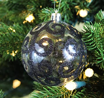festive season black swirl shatterproof christmas ball ornaments tree decorations set of 6