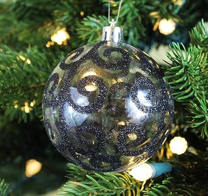 festive season black swirl shatterproof christmas ball ornaments tree decorations set of 6