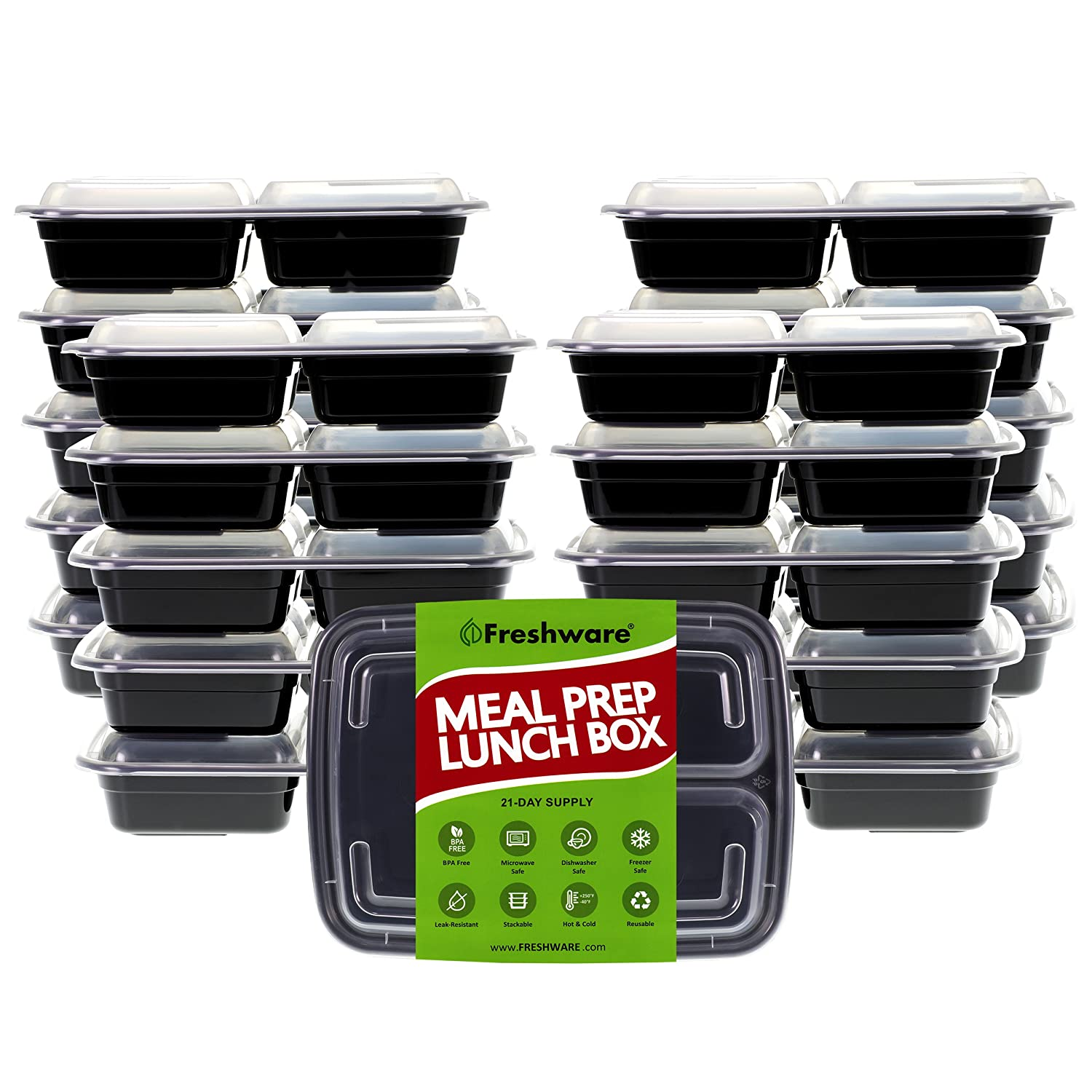 Freshware Meal Prep Containers [21 Pack] 3 Compartment With Lids, Food Storage Bento Box | Bpa Free | Stackable | Lunch Boxes, Microwave/Dishwasher/Freezer Safe, Portion Control, 21 Day Fix (24 Oz) by Freshware
