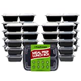 Amazon Price History for:Freshware Meal Prep Containers [21 Pack] 3 Compartment with Lids, Food Storage Bento Box | BPA Free | Stackable | Lunch Boxes, Microwave/Dishwasher/Freezer Safe, Portion Control, 21 day fix (24 oz)