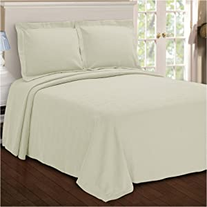 Superior Paisley Jacquard Matelassé 100% Premium Cotton Bedspread with Matching Shams, Twin, Ivory