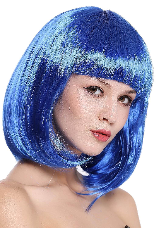 WIG ME UP ® - 0073-3-PC3 Peluca Mujer Carnaval Halloween Disco Party Corto Longbob Bob Flequillo Azul: Amazon.es: Juguetes y juegos