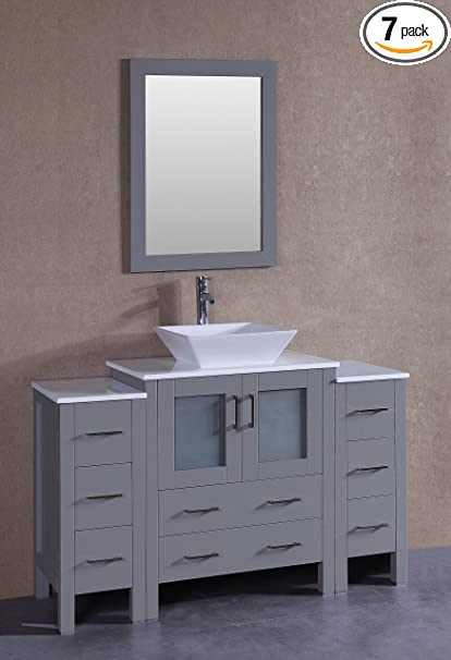 Bosconi Agr130s2s 54 Single Vanity With Square Vessel Sink Countertop Center Drawers Mirror And 2 Side Cabinets Gray Phoenix Stone