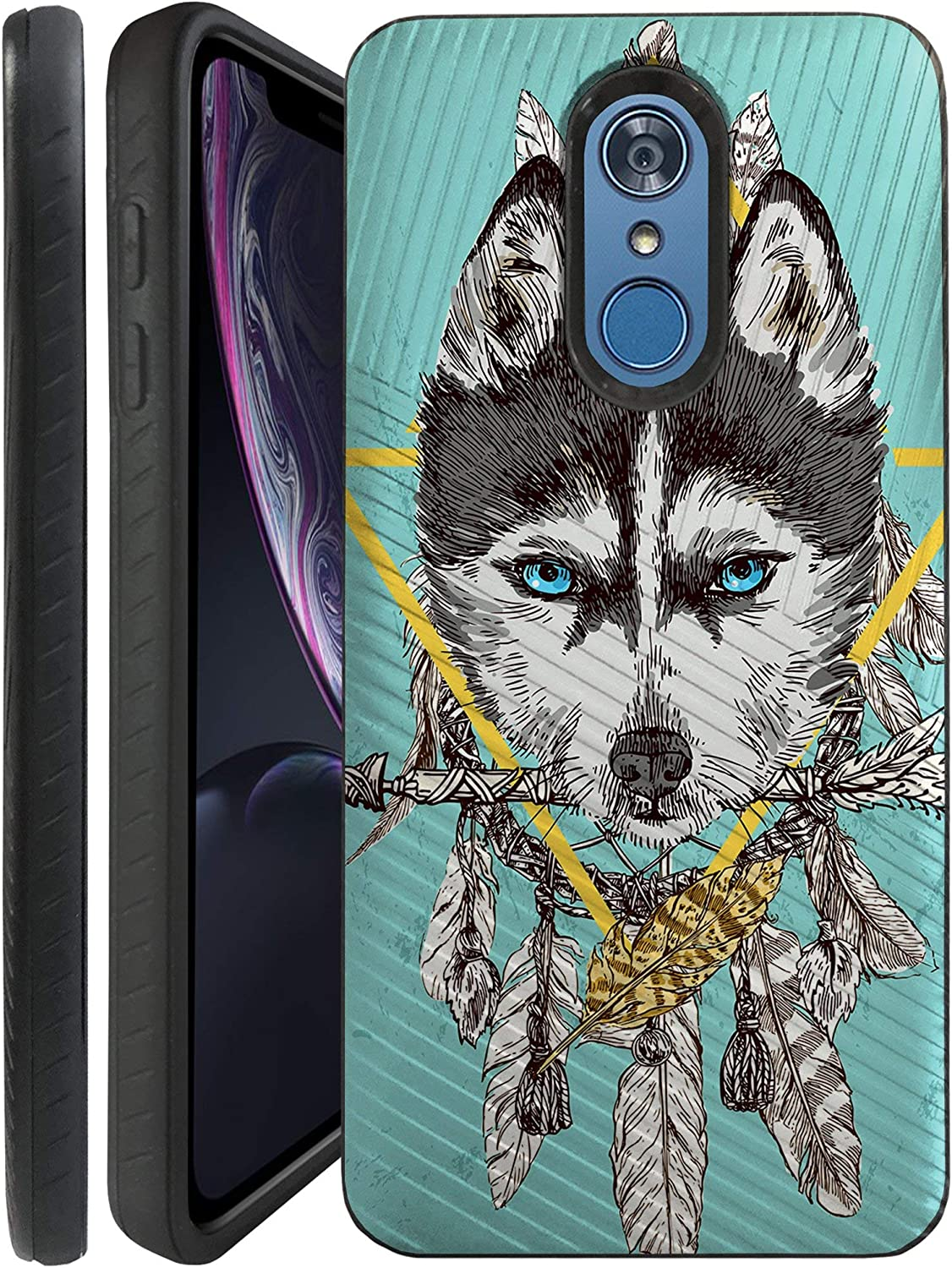 CasesOnDeck Case Compatible with [LG Q7, LG Q7+, LG Q7 Plus] Textured Tribal Floral Designs On Dual Layer Embossed Slim Cover (Teal Wolf)