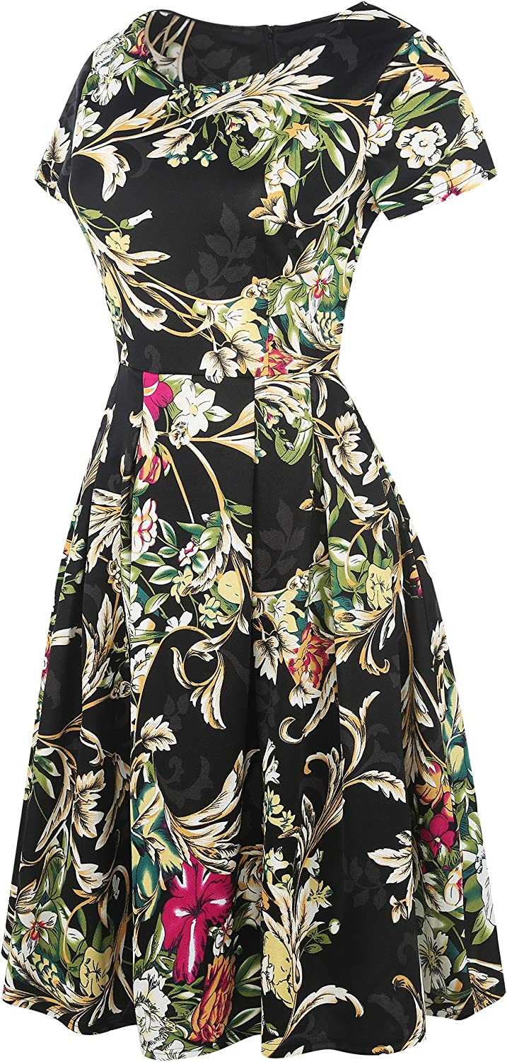 oxiuly Women's Vintage Patchwork Pockets Puffy Swing Casual Party Dress OX165 Black Yellow