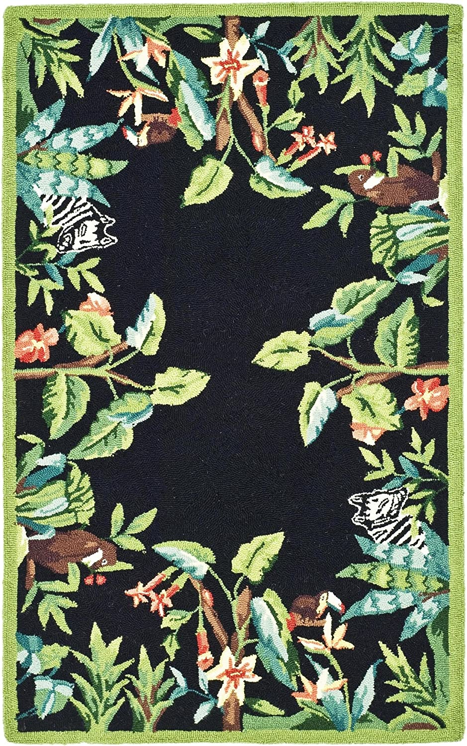 Safavieh Chelsea Collection HK295B Hand-Hooked Black and Green Premium Wool Area Rug (2'6