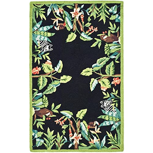 Safavieh Chelsea Collection HK295B Hand-Hooked Black and Green Premium Wool Area Rug 2 6 x 4