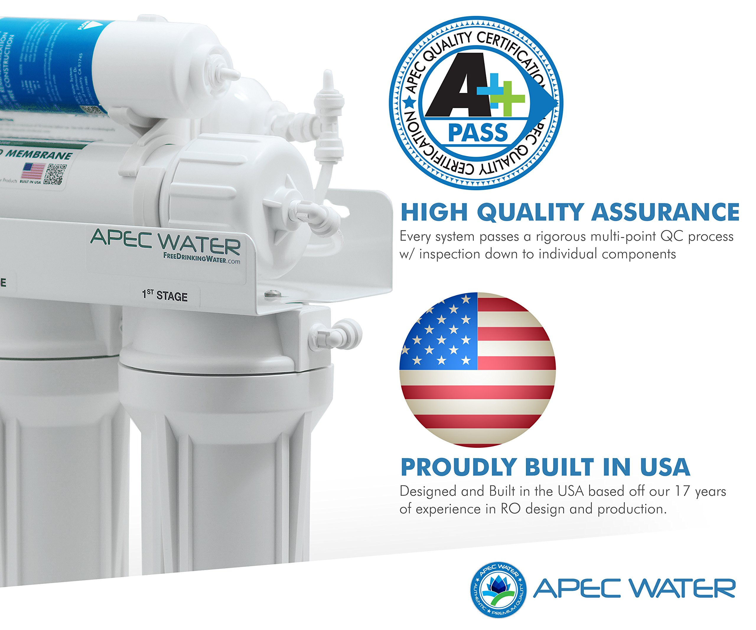 APEC Top Tier Alkaline Mineral pH+ 75 GPD 6-Stage Ultra Safe Reverse Osmosis Drinking Water Filter System (ESSENCE ROES-PH75) by APEC Water Systems (Image #2)