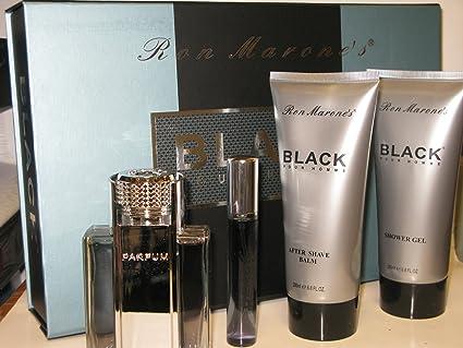 Ron Marones Black Pour Homme Gift Set (3.4 Oz EDT + 6.8 Oz Shower Gel + 6.8 Oz Aftershave Balm + 0.67 Oz Mini Spray)  for Men by Ron Marones