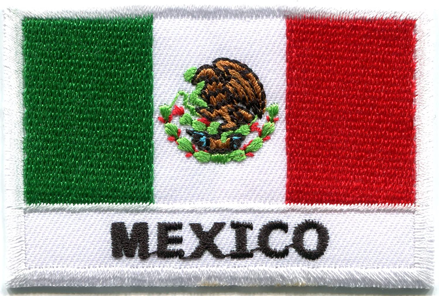 """MEXICO FLAG w//BLACK BORDER 3/"""" x 2/"""" Mexican National Flag//Iron On Patch Applique"""