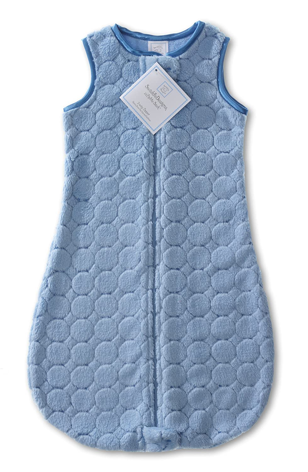 Turquoise Puff Circles; 6-12MO SwaddleDesigns Microplush Sleeping Sack with 2-Way Zipper