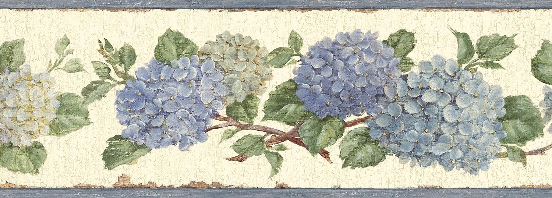 Chesapeake BBC46001B Esther Hydrangea Trail Wallpaper Border, Blue