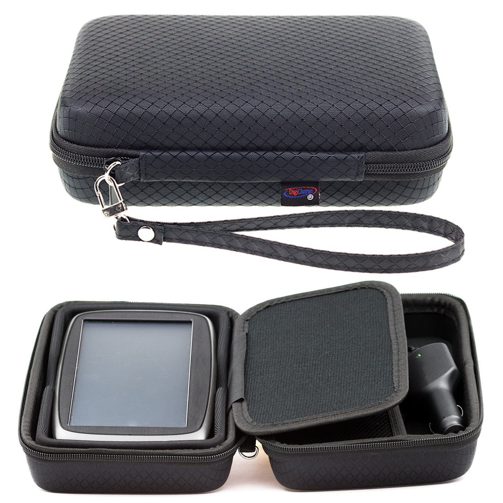 Digicharge Hard Carrying Case for TomTom Via 1625 1625M 1625TM Go 620 Trucker 620 6-Inch GPS With Accessory Storage and Lanyard - Black