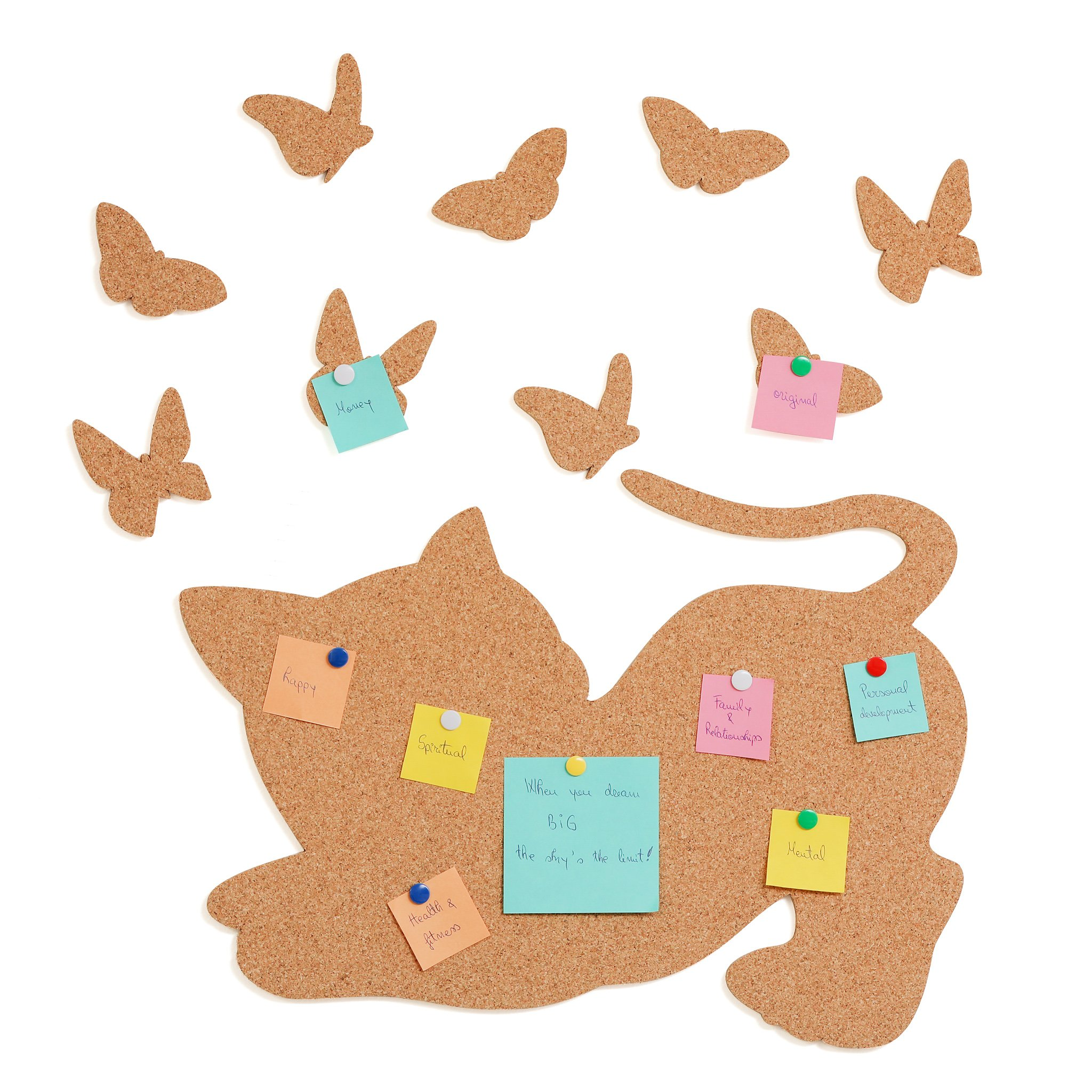 "EmKi Cork board Bulletin board 16.5""x12"", Self-Adhesive back, easy to install, fully tackable. Bundle 20 color thumb tacks and 9 butterflies. Ideal for individual use, crafts for kids/gifts for kids"