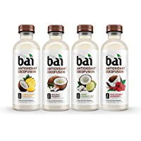 Bai Coconut Flavored Water, Cocofusions Variety Pack, 18 Fluid Ounce Bottles, 12 count, 3 each of Andes Coconut Lime, Maui Coconut Raspberry, Molokai Coconut, Puna Coconut Pineapple