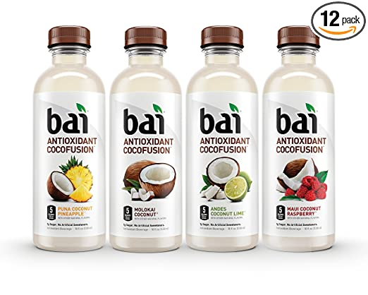 Bai Cocofusions Variety Pack, Antioxidant Infused Beverages, 18 Fl. Oz. Bottles (Pack of 12)