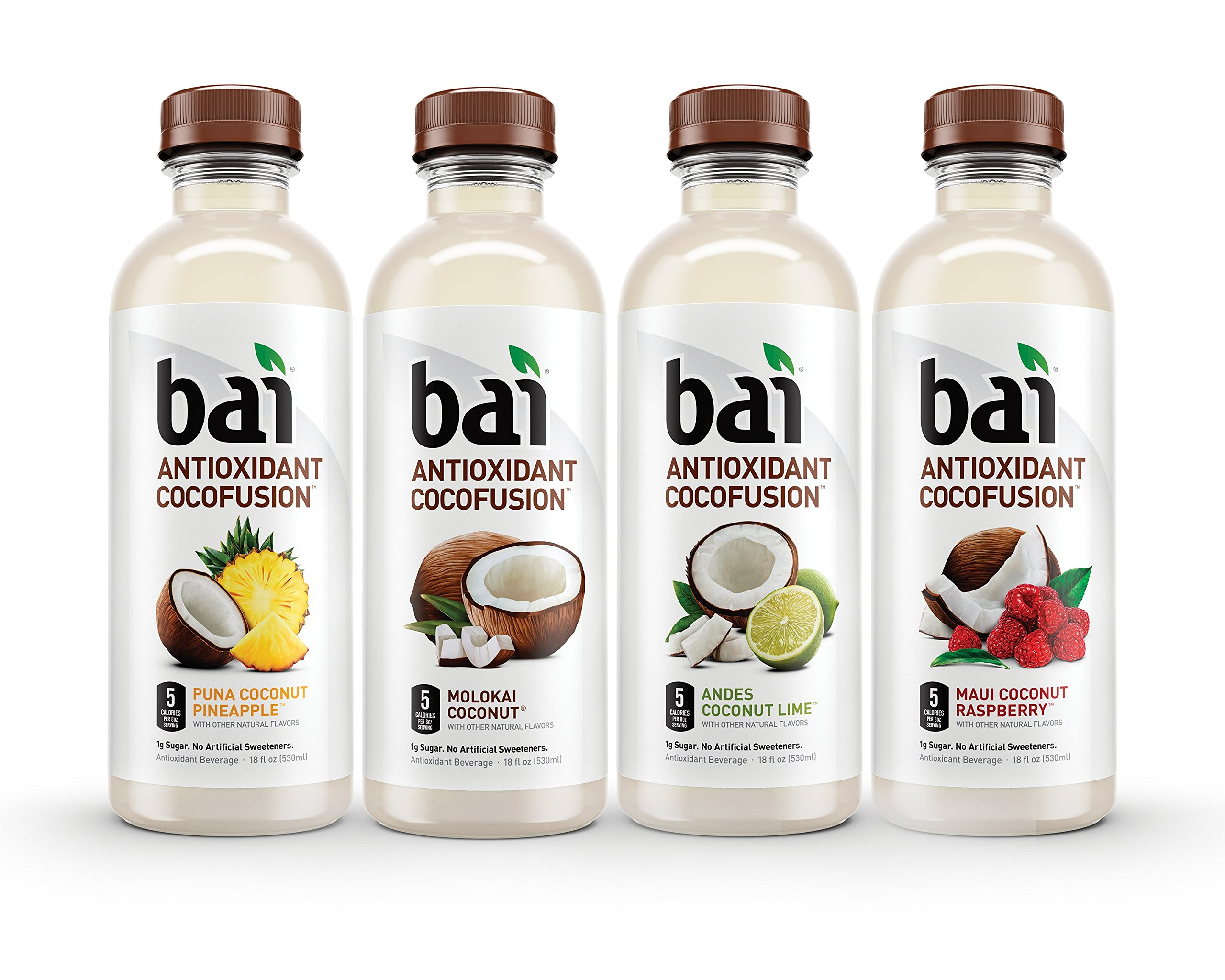 Bai Cocofusions Variety Pack, Antioxidant Infused Beverages, 18 Fluid Ounce Bottles, 12 count, (3 bottles each of Andes Coconut Lime, Maui Coconut Raspberry, Molokai Coconut, Puna Coconut Pineapple)