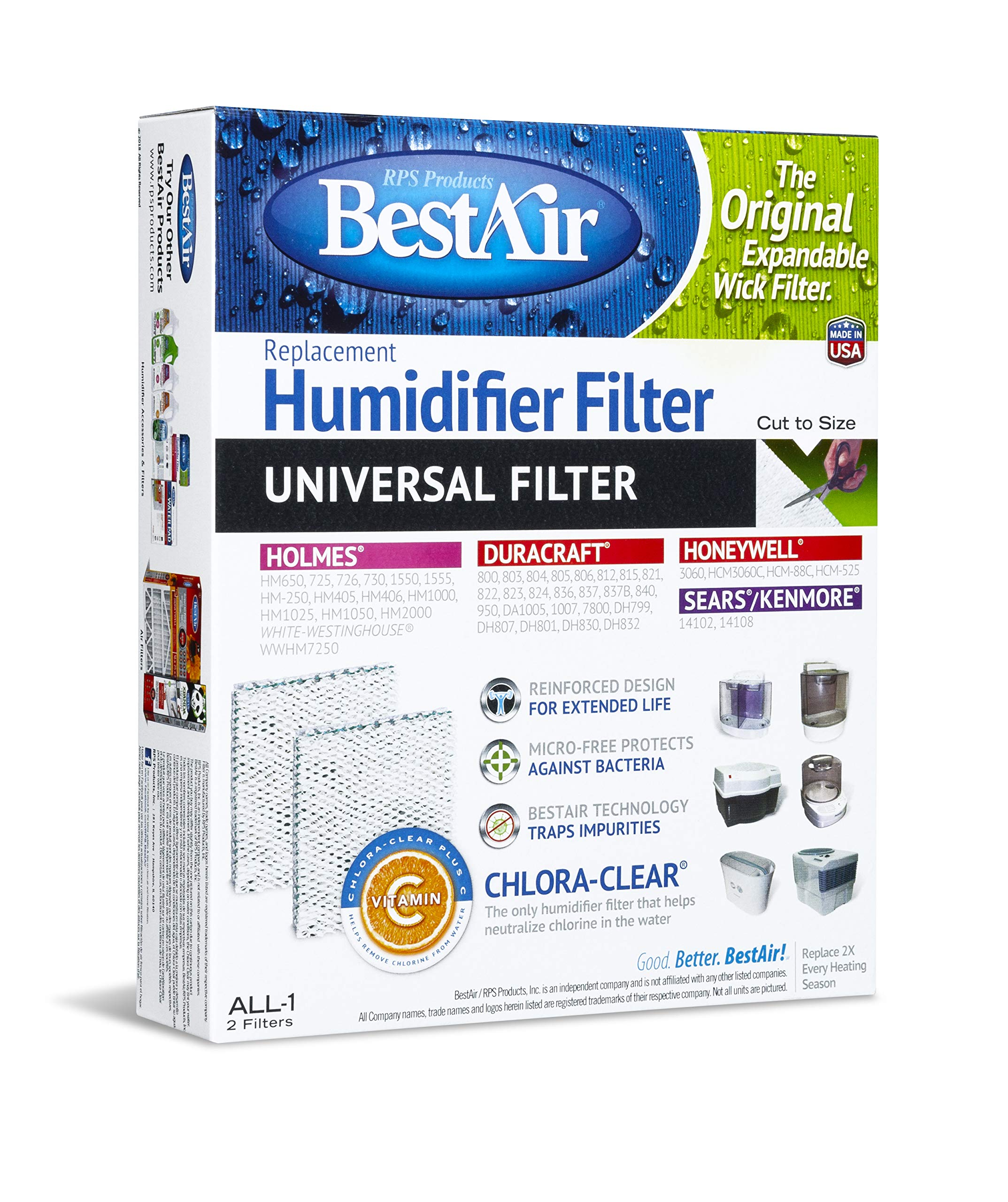 BestAir ALL-1-PDQ-5 Universal Extended Life Humidifier Replacement Paper Wick Filter, For Duracraft Humidifiers, 7.2'' x 9.6'' x 1.9'', 5 Pack (10 Filters) by BestAir